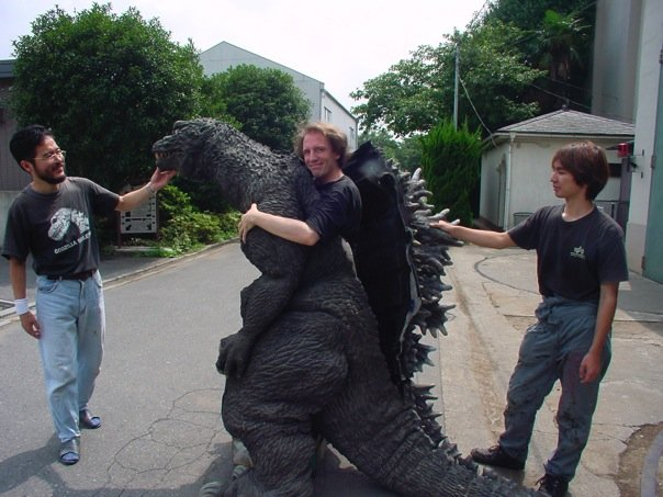 "Giving the Godzilla suit a spin at Toho Studios during the production of ""Godzilla, Mothra and King Ghidorah: Giant Monsters All-Out Attack""."