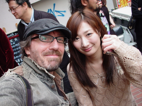 "Hanging out with Rina Takeda after the cast / staff screening of ""Dead Sushi""."