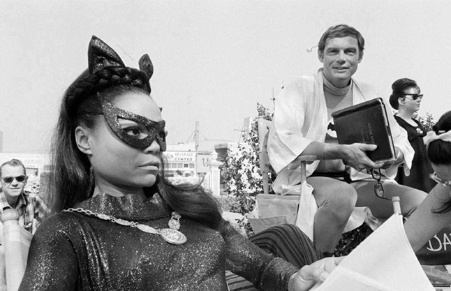 Eartha Kitt and Adam West between scenes on Batman (1966)