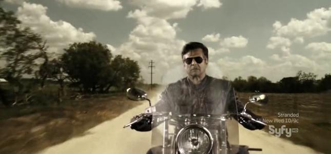 Erik Estrada 'riding' on his bike.